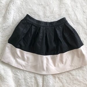 Black & White Vegan Leather Skirt